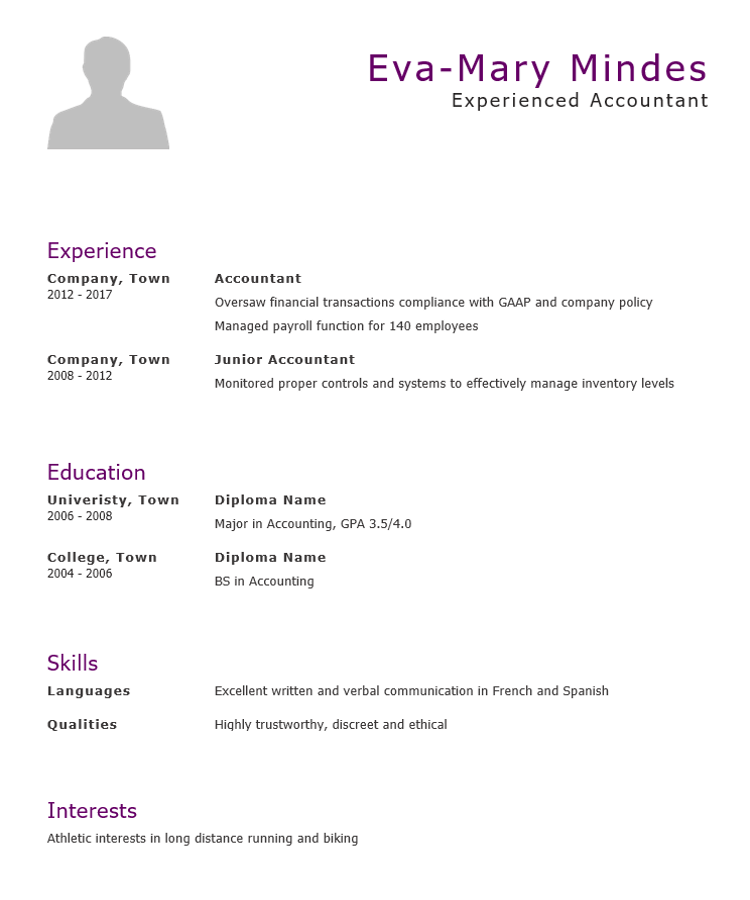 Accountant CV Template