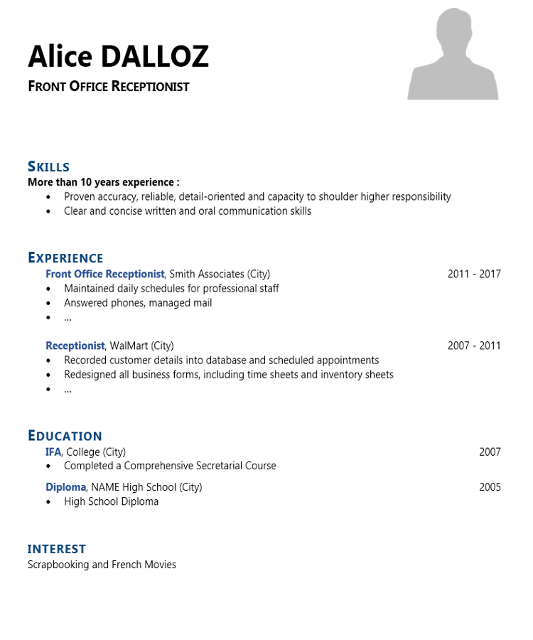 front office receptionist cv template