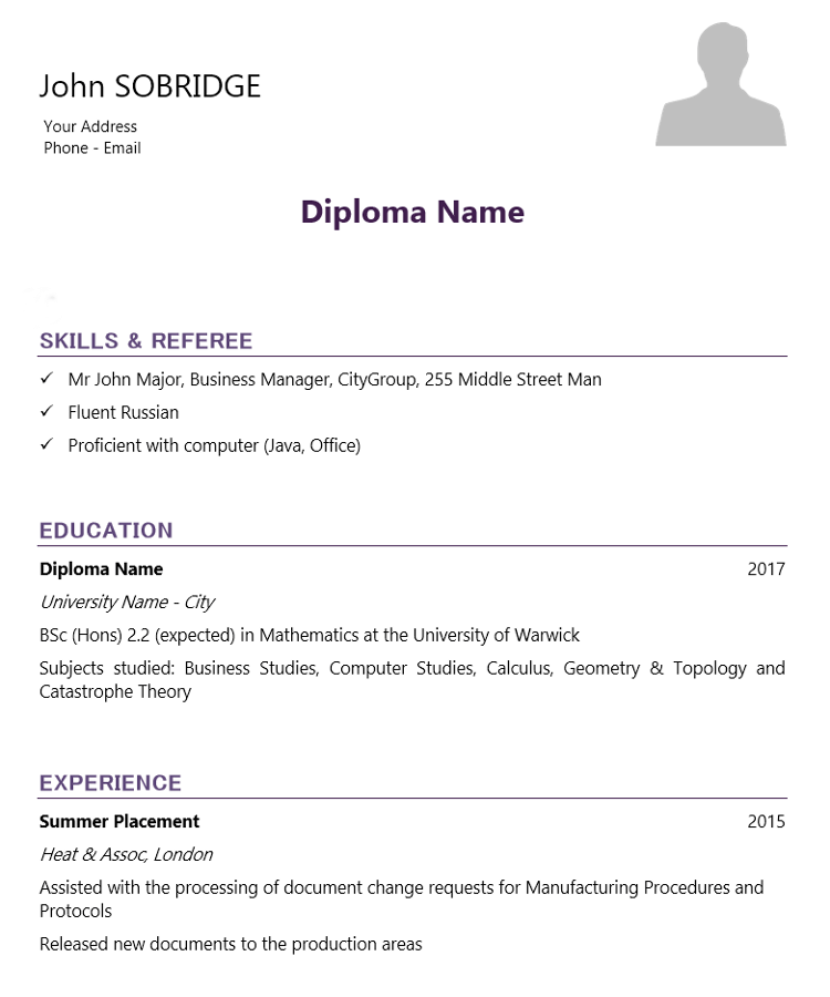 college student cv template