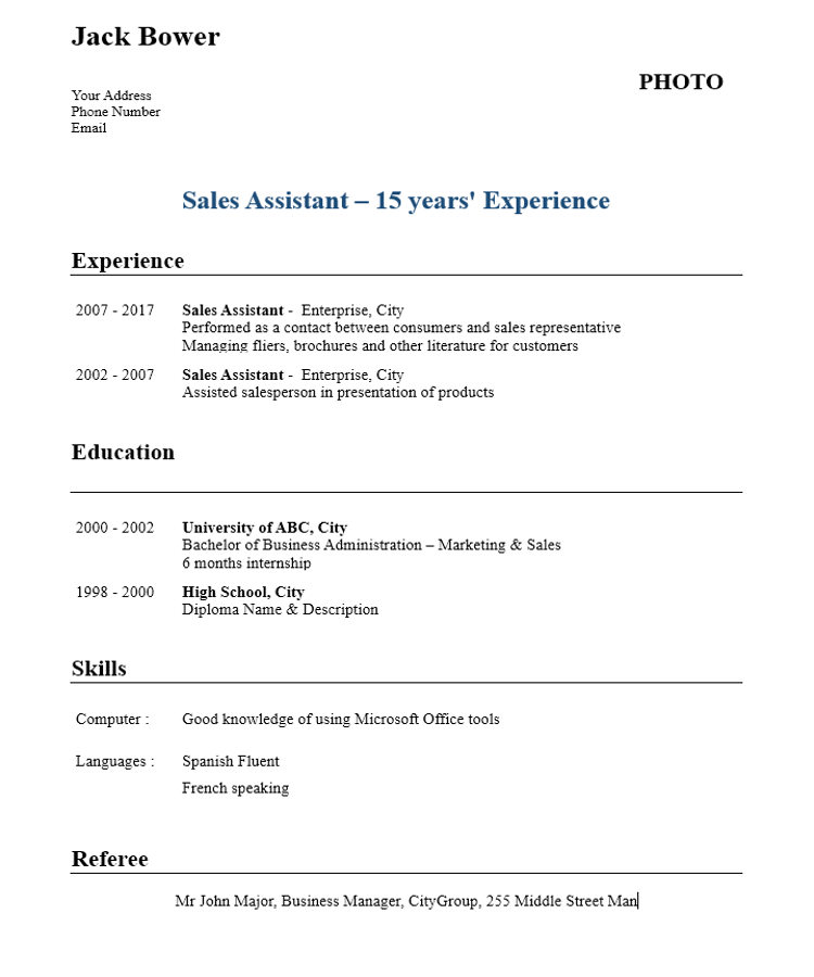 sales assistant cv template