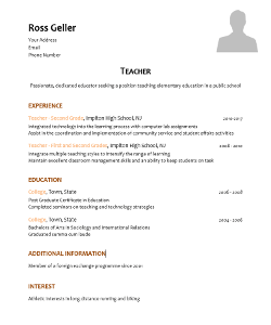 School Teacher CV